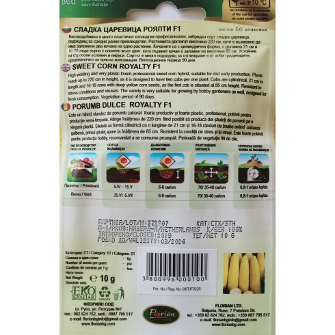 Професионални семена на холандски сорт сладка царевица Роялти Royalty F1