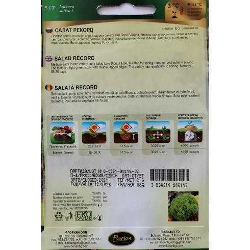 Семена на салата Рекорд